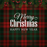 Merry Christmas greeting card, invitation with Christmas tree branches and red berries border. Tartan checkered background. Merry Christmas greeting card royalty free illustration