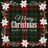Merry Christmas greeting card, invitation. Floral frame made of hand drawn poinsettia flower, fir tree branches. Mistletoe and berries. Tartan checkered plaid Royalty Free Stock Photography