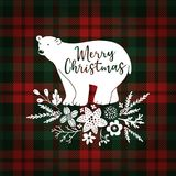 Merry Christmas greeting card, invitation. Hand drawn white polar bear with fir tree branches. Floral decoration with. Poinsettia and mistletoe, tartan Royalty Free Stock Photography