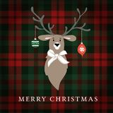 Merry Christmas greeting card, invitation. Reindeer with Christmas baubles and ribbon. Tartan checkered plaid, illustration. Merry Christmas greeting card Stock Illustration