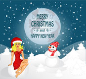 Merry Christmas greeting card. Landscape with Snow Maiden and snowman. Vector royalty free illustration