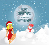 Merry Christmas greeting card. Landscape with Snow Maiden and snowman. Vector stock illustration