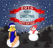 Merry Christmas greeting card. Landscape with Snow Maiden and snowman. Vector vector illustration