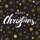 Merry Christmas greeting card with lettering and golden snow. Merry Christmas greeting card. Hand lettering on black background with golden snowflakes. Vector stock illustration