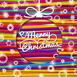 Merry Christmas greeting card made from bundle of. Bright laces on the paper with snowflakes. With shining glares. With swirl lettering of -Merry Christmas- in Stock Images