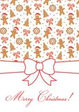 Merry Christmas greeting card. Decorative invitation template. Gingerbread man, Christmas Tree, snow flake, sugar cane, lettering. Holiday themed graphic Royalty Free Stock Photography