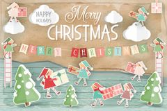 Merry Christmas Greeting Card. Winter Holidays Vintage Scene. Christmas Gnomes Bringing Gifts. Retro Style. Vector Illustration Stock Photos