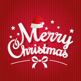 Merry christmas greeting card. Merry christmas lettering and decoration on red background. vector stock illustration