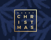 Merry Christmas Greeting Card with Minimalistic Branch Pattern and Modern Typography Gold Letters in a Frame. Royalty Free Stock Photo