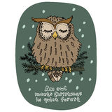 Merry Christmas greeting card. New Year holidays celebration. Cartoon style. Hand drawn owl sitting on green pine branch. Vector Stock Photo