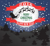 Merry Christmas greeting card. New year and Christmas card with Santa Claus Stock Photography