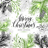 Merry Christmas greeting card with new years tree and calligraph. Ic sigh Merry Christmas. Vector holiday illustration Stock Photo