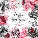 Merry Christmas greeting card with new years tree. And calligraphic sigh Merry Christmas. Vector holiday illustration vector illustration