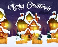 Merry Christmas greeting card with night village royalty free illustration