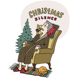 Merry Christmas greeting card. Old man sitting in the chair and smoking tobacco pipe near christmas tree. Cartoon style. Vector Royalty Free Stock Photos