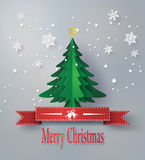 Merry christmas greeting card with origami made christmas tree Stock Images