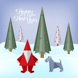 Merry christmas greeting card with origami made christmas tree, santa claus and dog. Paper art and craft style Royalty Free Stock Photo