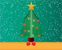 Merry christmas greeting card with origami made christmas tree a Royalty Free Stock Photos