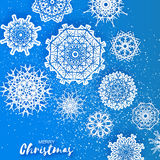 Merry Christmas Greeting card with Origami Snowflake Stock Image