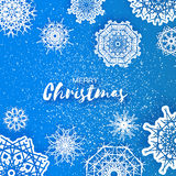 Merry Christmas Greeting card with Origami Snowflake Stock Photography