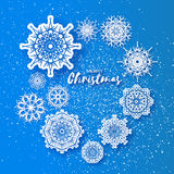 Merry Christmas Greeting card with Origami Snowflake Stock Photos