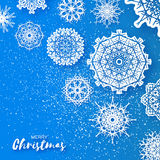 Merry Christmas Greeting card with Origami Snowflake Stock Images