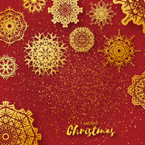 Merry Christmas Greeting card with Origami Snowflake Royalty Free Stock Image
