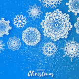 Merry Christmas Greeting card with Origami Snowflake Royalty Free Stock Photography
