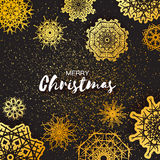 Merry Christmas Greeting card with Origami Snowflake Royalty Free Stock Photos