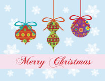 Merry Christmas Greeting Card Ornaments Stock Images
