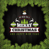 Merry Christmas Greeting Card With Ornaments Royalty Free Stock Photography
