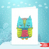 Merry Christmas greeting card with an owl. Stock Images