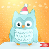Merry Christmas greeting card  with an owl. Royalty Free Stock Image
