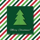 Merry Christmas greeting card with paper cut out tree on stripped background. royalty free illustration