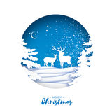 Merry Christmas Greeting card in paper cut style. Snow Winter forest, landscape with deer couple. Blue background Stock Photos