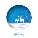 Merry Christmas Greeting card in paper cut style. Snow Winter landscape with deer couple. Blue background. Circle frame Stock Images