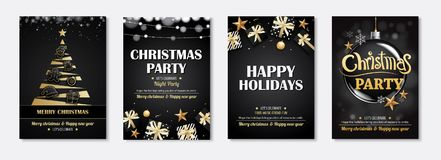 Merry christmas greeting card and party invitations on black bac. Kground. Vector illustration element for happy new year flyer brochure design Stock Photos