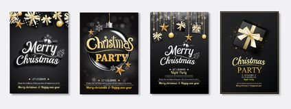 Merry christmas greeting card and party invitations on black bac. Kground. Vector illustration element for happy new year flyer brochure design Stock Photography
