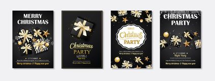 Merry christmas greeting card and party invitations on black bac. Kground. Vector illustration element for happy new year flyer brochure design Royalty Free Stock Images