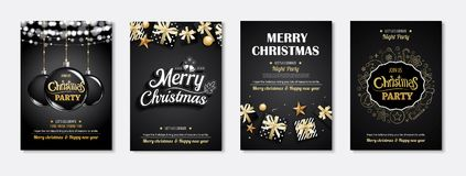 Merry christmas greeting card and party invitations on black bac. Kground. Vector illustration element for happy new year flyer brochure design Royalty Free Stock Image
