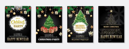 Merry christmas greeting card and party invitations on black bac. Kground. Vector illustration element for happy new year flyer brochure design Royalty Free Stock Photo