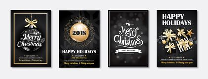 Merry christmas greeting card and party invitations on black bac. Kground. Vector illustration element for happy new year flyer brochure design Stock Image