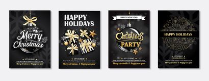 Merry christmas greeting card and party invitations on black bac. Kground. Vector illustration element for happy new year flyer brochure design Royalty Free Stock Photography