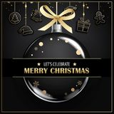 Merry christmas greeting card and party invitations on black. Vector illustration element for happy new year design Royalty Free Stock Images