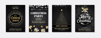 Merry christmas greeting card and party invitations on black. Merry christmas greeting card and party invitations on black. Vector illustration element for Stock Photo