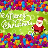 Merry Christmas greeting card with place for your. Text, and hand written Merry Christmas lettering. On bright background with colorful confetti with Santa Royalty Free Stock Images