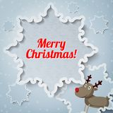 Merry Christmas greeting card with place for your. Text. Santa Claus christmas reindeer Royalty Free Stock Photo
