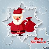 Merry Christmas greeting card with place for your. Text. Santa Claus standing with sack of presents. Vector Stock Photos