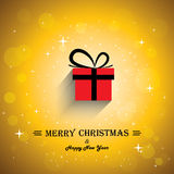 Merry Christmas Greeting Card Poster With Gift Ico Royalty Free Stock Photography