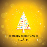 Merry christmas greeting card poster & xmas tree - Stock Photos